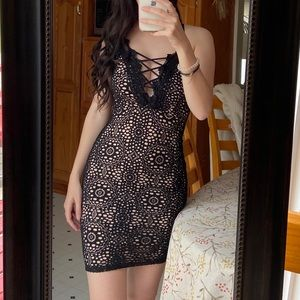 Eclipse Black and Nude Lace Low V-Neck Dress